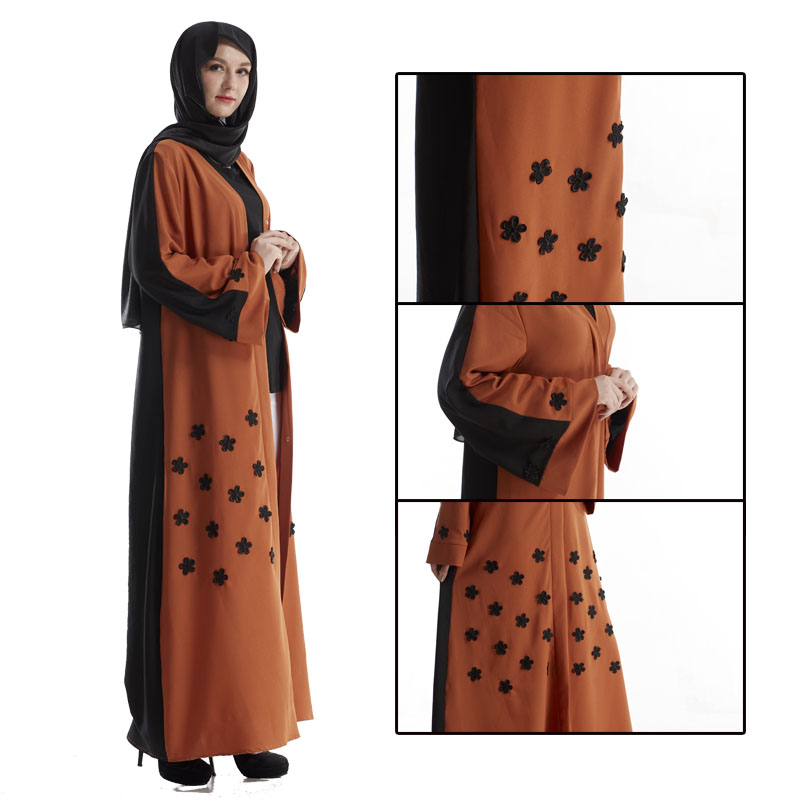 Elegant Dubai Front Open Abaya Dress Long Sleeve Islamic Clothing