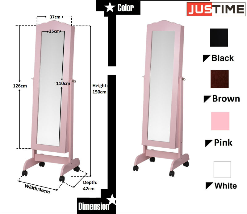 Lvory Jewelry Armoire Full Length Mirror Wooden Storage