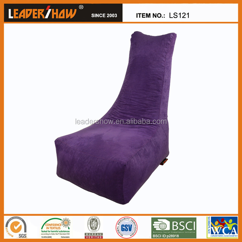 Suede Cover Indoor Purple Bean Bag Chair With Washable Cover
