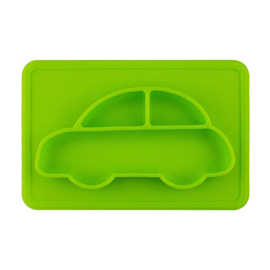 Place mat Non-slip Insulation Integral separated plate Convenience child Food grade silicone Square car 29 19cm 4 in one (Color : Green)
