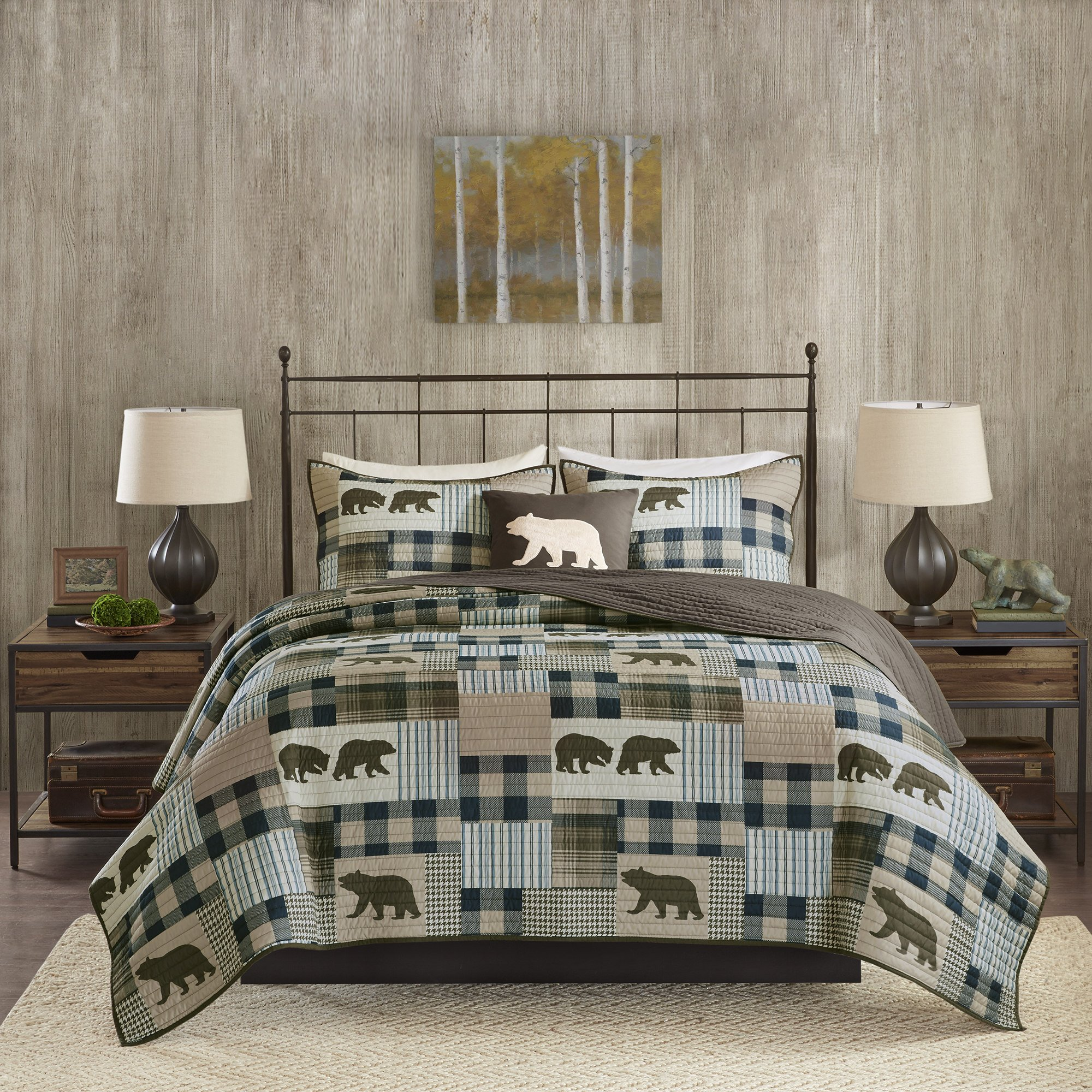 4 Piece Blue Brown Plaid King\Cal King Quilt Set, Cabin Lodge Hunting Theme Bedding, Animal Print Bear Striped Checkered Pattern Patchwork Lumberjack Rugby Stripes Bears Motif Reversible, Polyester