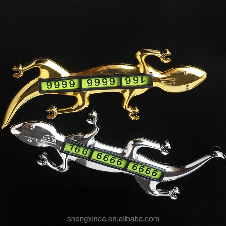 Car parking phone number metal cards with gold and silver Gecko