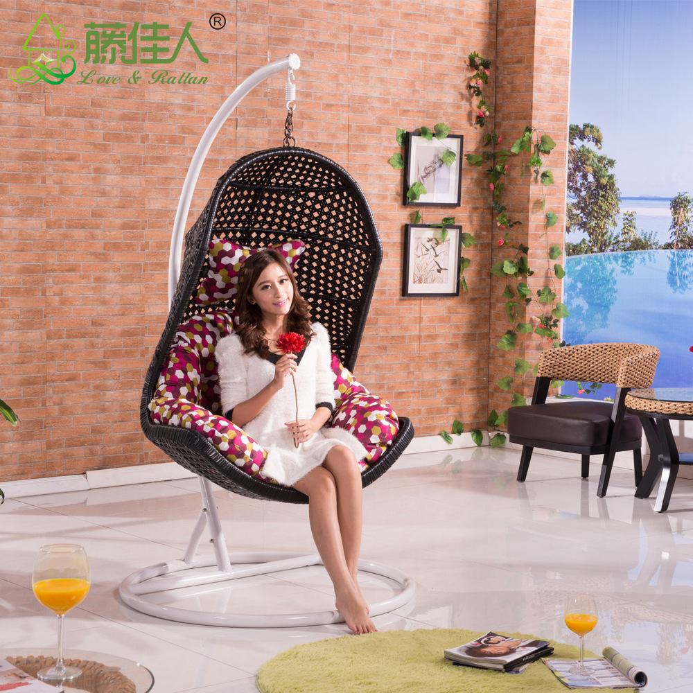 High quality french indoor bamboo real natural rattan for Large wicker moon chair