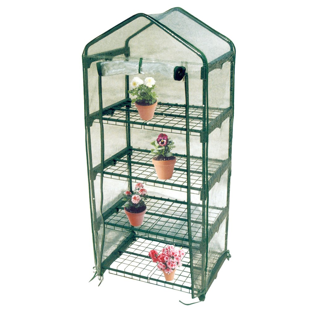 MINI GREENHOUSE - NEW METAL GREEN VERSION with 4 tier collapsible shelves - Best Greenhouse with ROLL UP ZIPPER DOOR