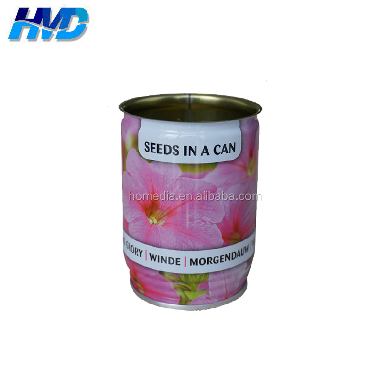 691# Round Colorful Printed Tin Can Empty for Garden Stuff 330ml