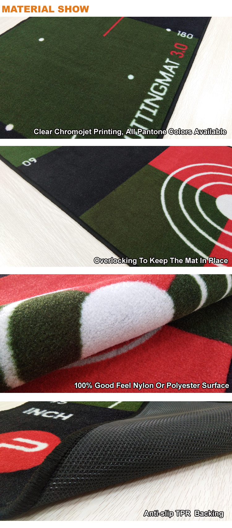 Factory Supply Custom Rubber Backing Indoor Golf Praktijk Putting Mat