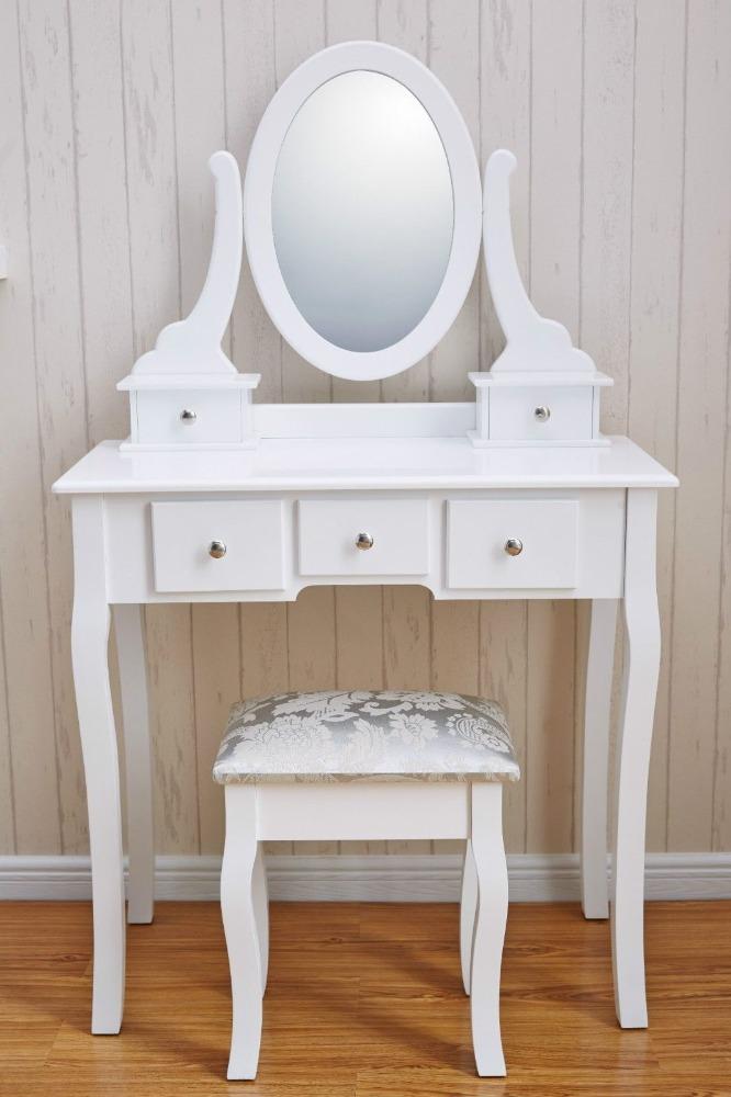 Bedroom Furniture Mirrored Furniture Makeup Table Wood Stool ...