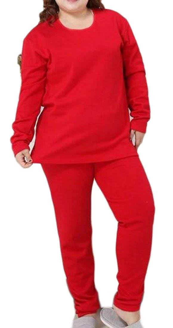 Fulok Womens Fleece Winter Cotton Long Johns Thermal Underwear Sets