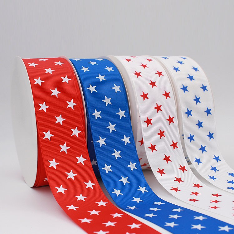 Wholesale Custom Logo star printing grosgrain ribbon
