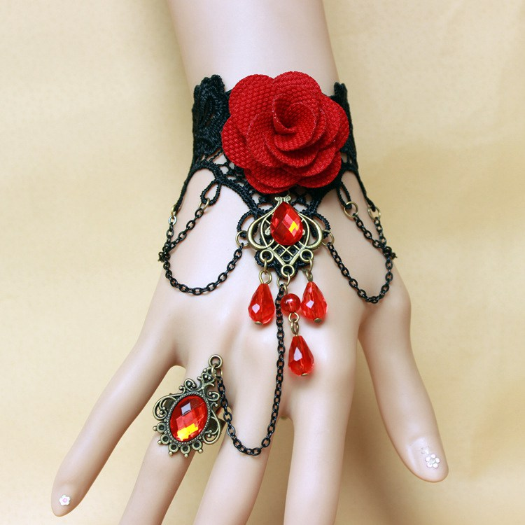 Fy-24 Breslate Design Wrist Bracelet Trendy Charm Red Rose Crochet ...