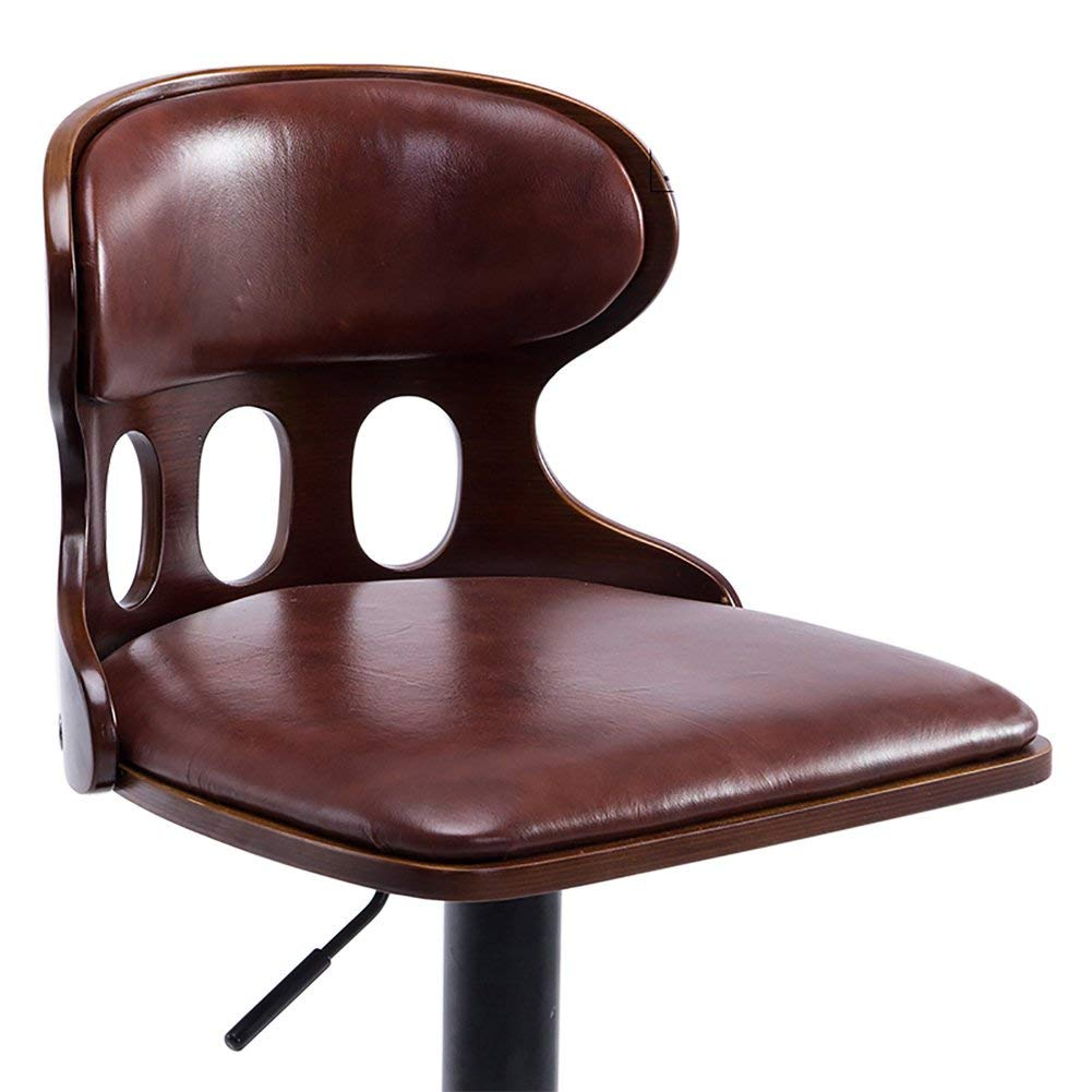 ALUS- European Style Bar Stool, Backrest Chair, Solid Wood&PU Leather, 360 Degree Rotation, Comfortable Secure Pedals