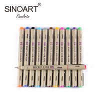 12 Colors Colored Micron Drawing Pen For Waterproof Non-Toxic Pigment Ink