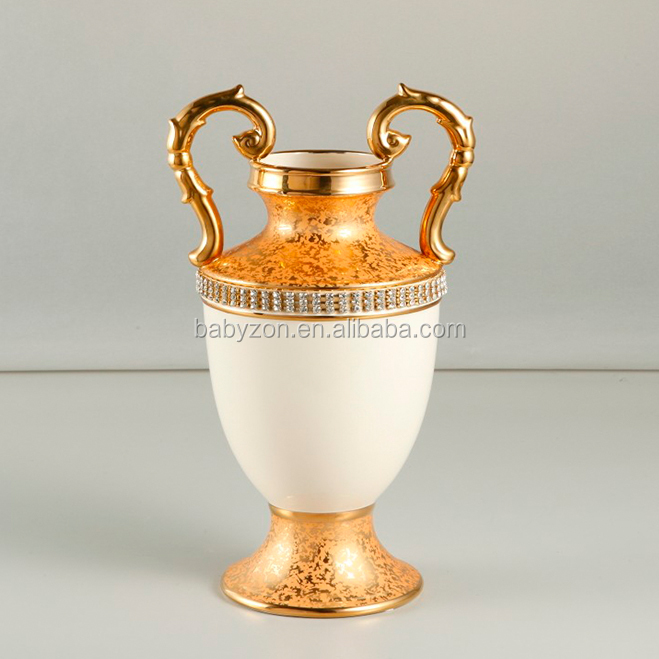 Luxury Ceramic China Vases Gold Plated Small Antique Porcelain