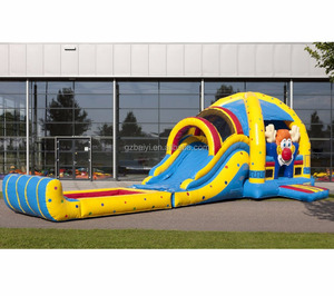 Amusement park inflatable castle bouncer water slide with pool for sale