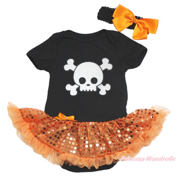 Halloween White Skull Black Bodysuit Girl Orange Bling Sequin Baby Dress NB-18M