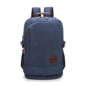 Wholesale price blue durable cotton fancy school bagpack sac a dos homme canvas leisure sport backpack for girl