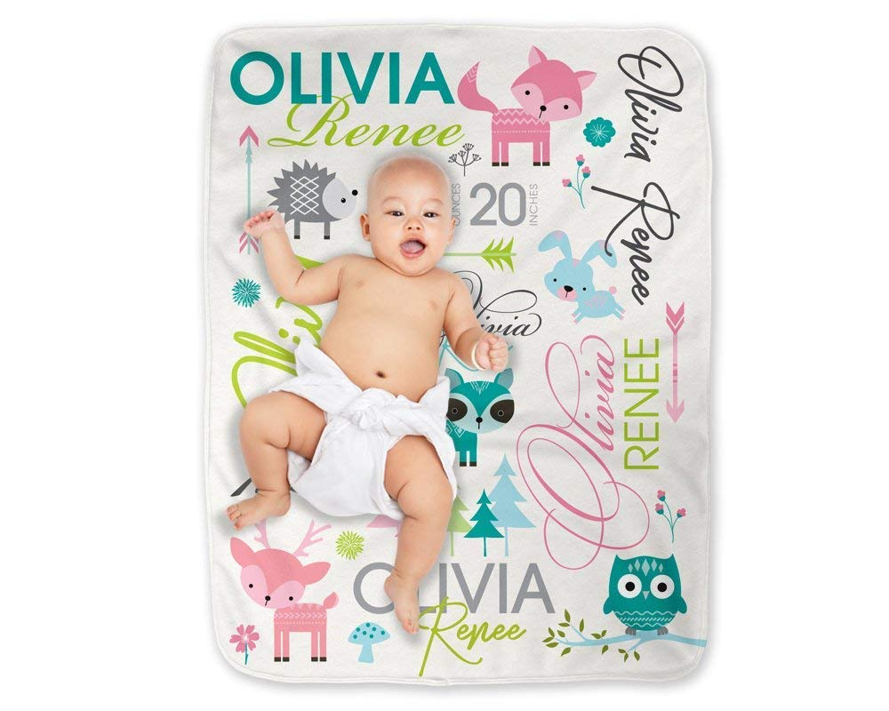 Baby Blanket Girl Pink Forest Woodland Animals Personalized Minky Swaddle Nursery Gift for Girl
