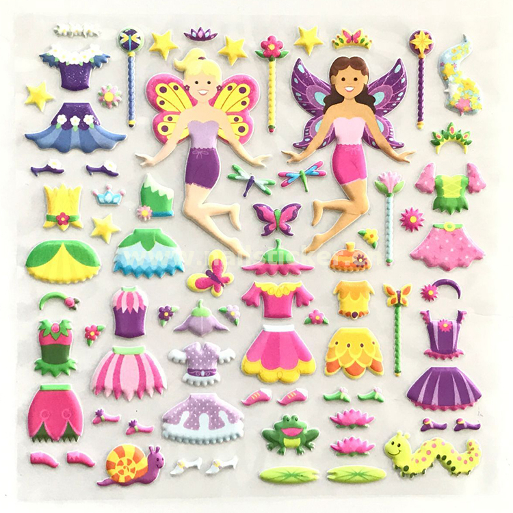 1 Set Lovely 3D Three-dimensional Foam Large Girls Toys Change Clothes Dress Up Cartoon Stickers Decals Baby Kids Game Gifts