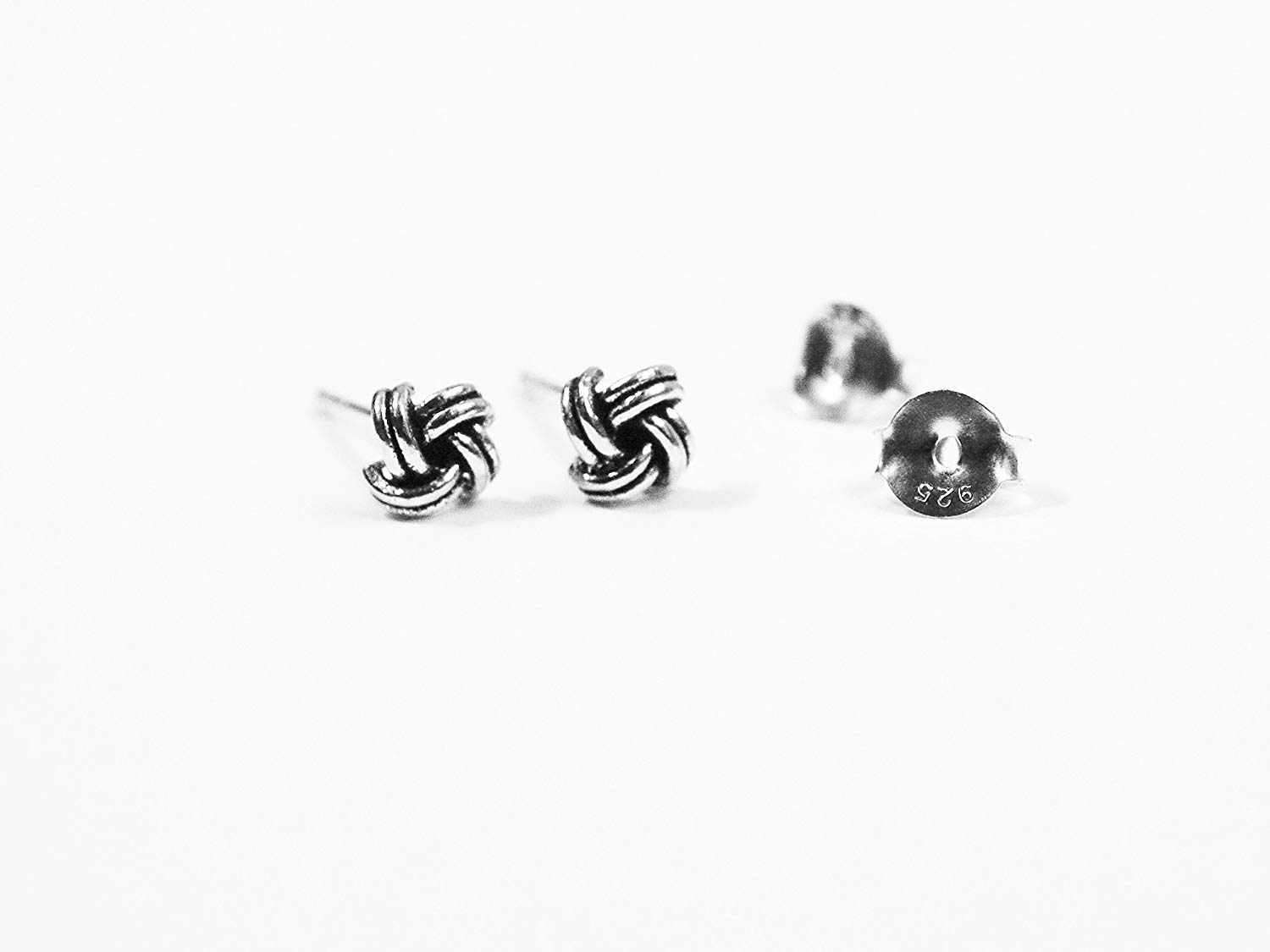 0d203faf3 Get Quotations · Sterling Silver Handcrafted Tiny Love Knot Stud Earrings  With Oxidized Finish 5mm - Women and Children