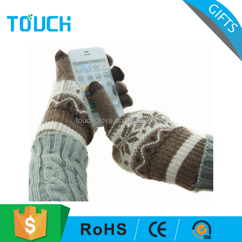 Men's jacquard wool knitted touch sensitive gloves