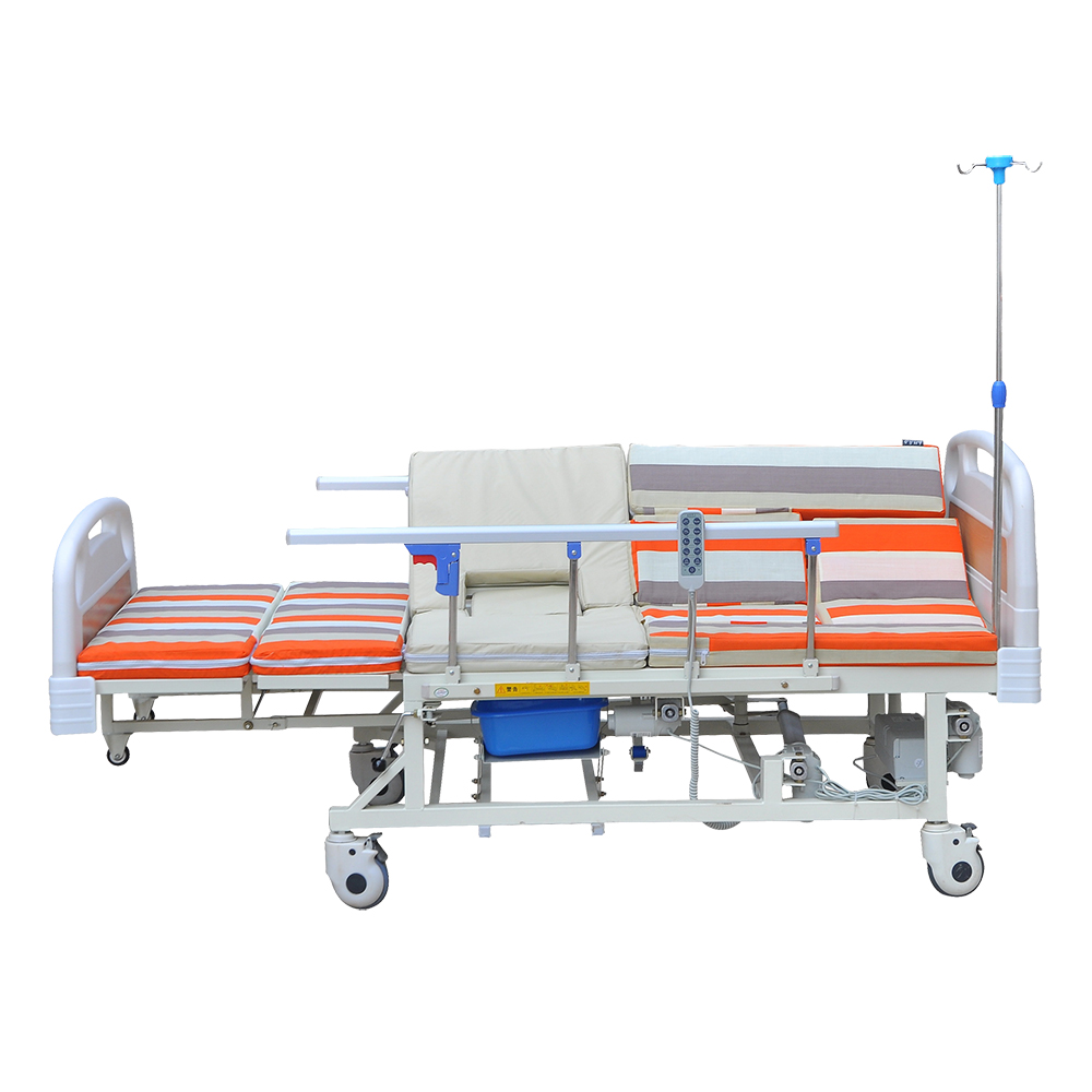 paralysis patient electric home care bed with aluminum tube head foot board and square legs