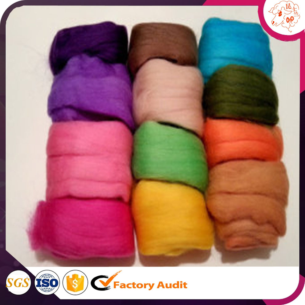 China supplier chunky yarn dyed Merino Wool Roving 19 20 21 23 Micron Super Chunky Yarn