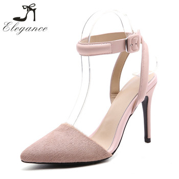Ladies Pink Sheep Leather Sexy Footwear Embellished Ankle Strap Pumps Horse  Fur Shoes Women US Size 66d069630e
