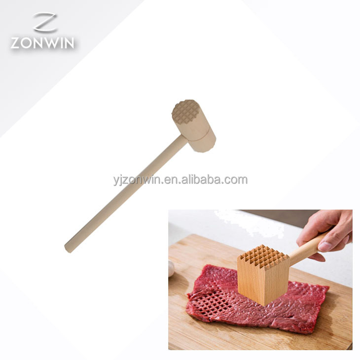 Item R3-003 Wooden Meat Tenderizer Mallet Marinating Prep Tool, Double Sided, FSC-Certified Eco-Friendly Beechwood
