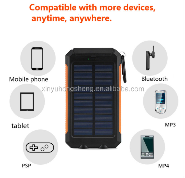 2018 Newest Products Waterproof solar charger power bank 30000mah with compass for iPhone for Samsung for Digital Products