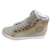 Skate shoes of ladies lace up front high top to ankle for winter season wearing sneaker styling suede upper warm velvet lining