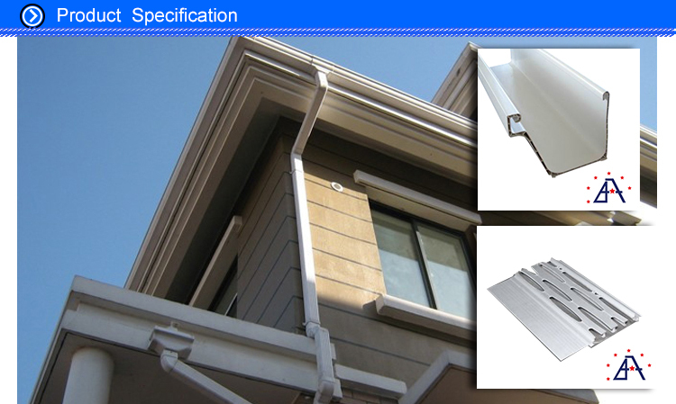 Factory direct supply good quality color coated aluminum gutter system/Falling water pipe