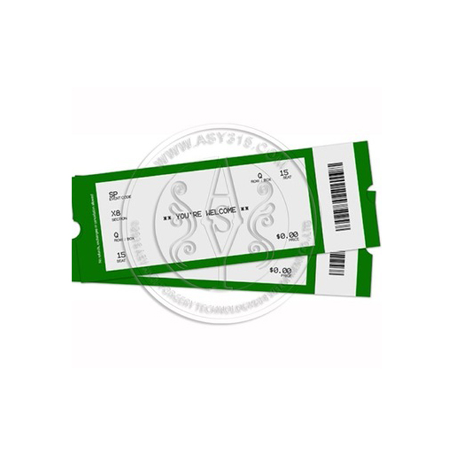 Thermal airline boarding pass ticket