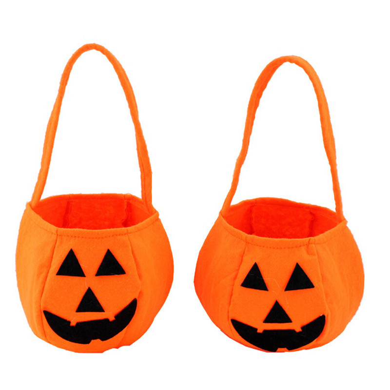 get quotations 1pc orange halloween smile pumpkin bag kids candy bucket children handhold bag festiveparty supplier wscr416 hot