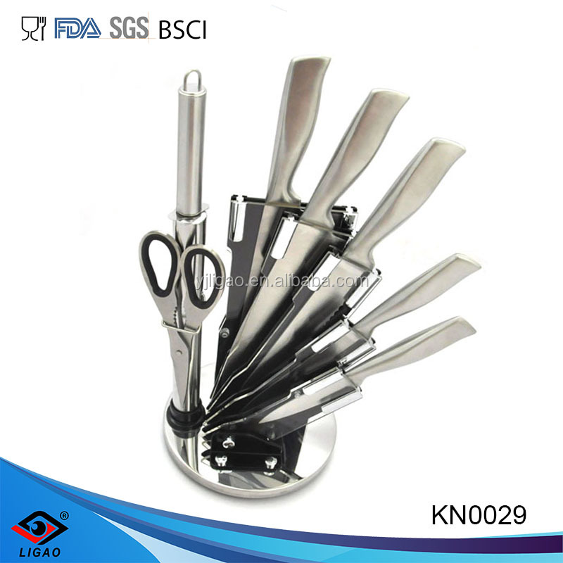 7pcs stainless steel kitchen knife set with acrylic block