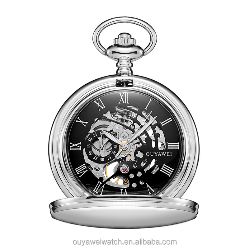 884431087 OUYAWEI Silver Alloy Case Men Mechanical Pocket Watch With Stainless Steel  Chain Hand-Winding Best Gift Pendant Necklace