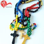 Different designs red wood bead catholic cord rosary cross rosaries