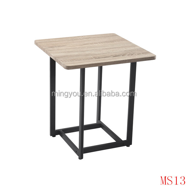 wooden end table with oak veneer MDF