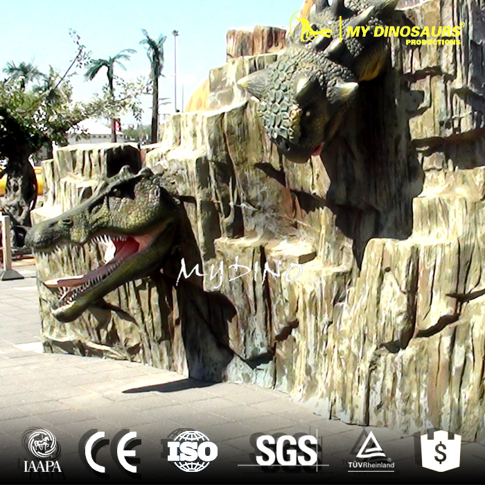 MY-Dino-J289 Amusement Dinosaur Park Decorations Fiberglass Dinosaur Head Wall Statue
