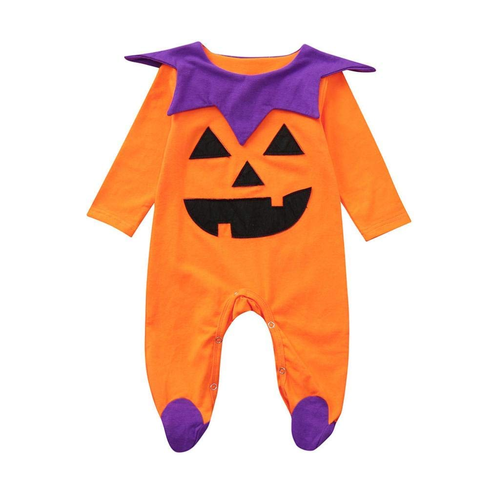 Halloween Costume Newborn Toddler Infant Baby Boys Girls Long Sleeves Romper Jumpsuit Outfits (18-24 Months, Orange)