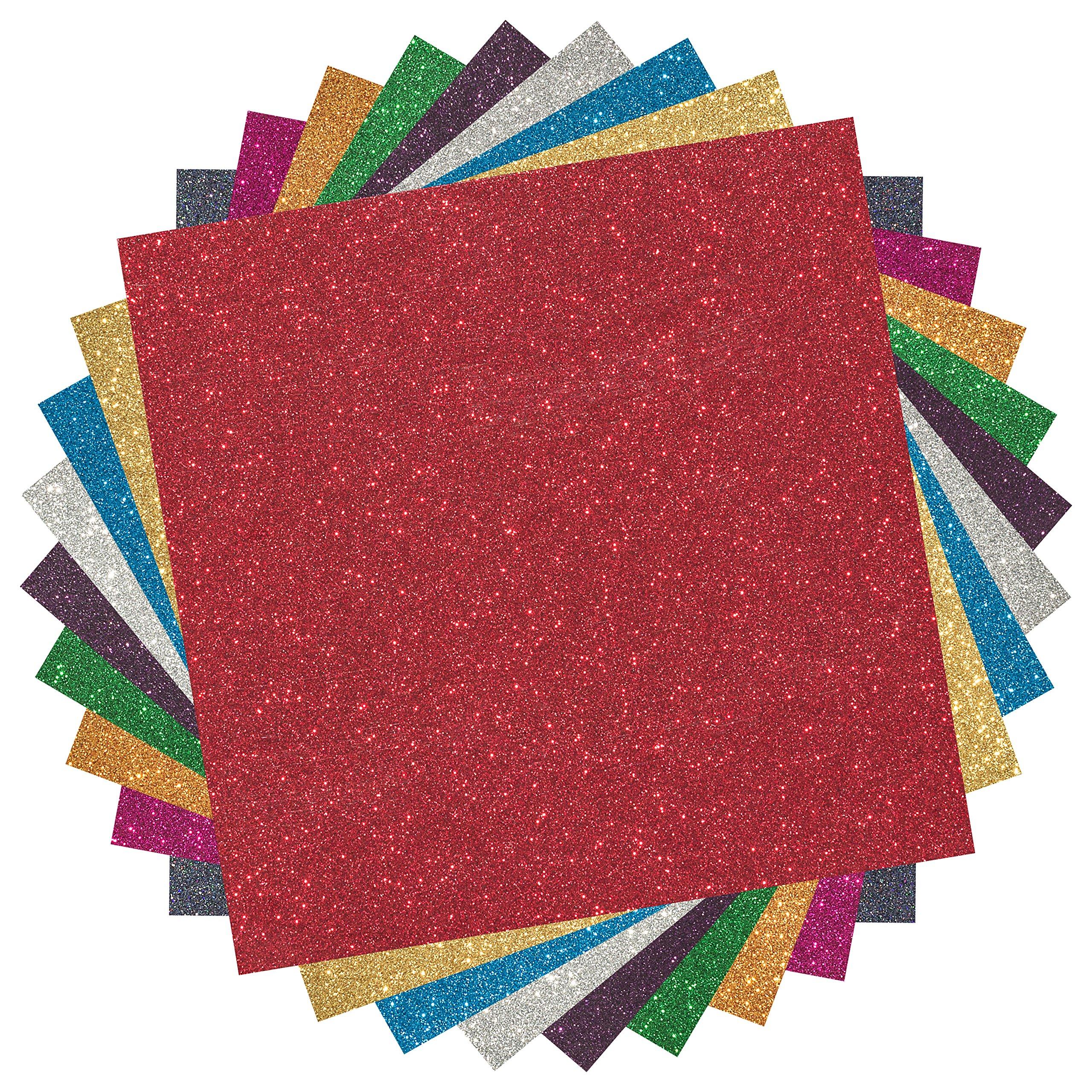 MAREA Premium Glitter Heat Transfer Vinyl (HTV) Sheets - 9 Color Bundle Pack, multi-colors, Vinyl Heat Transfer, HTV Bundle for T-shirts & Iron On, Silhouette Cameo, Heat Press & Cricut Machine