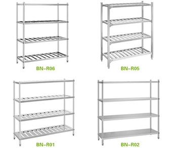 Knock-down Stainless Steel Restaurant Kitchen Shelving Rack 4 Layers ...