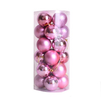 24pcs/box pink christmas ball hanging delicate printable Xmas balls