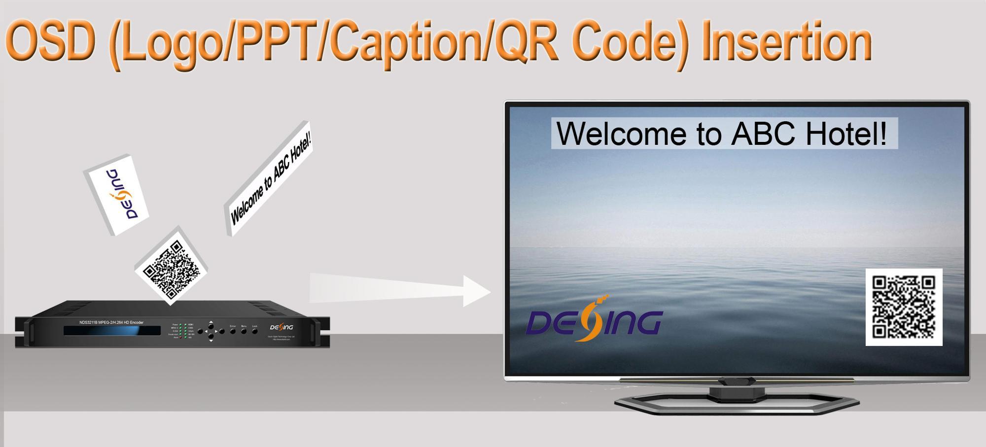 Dexin NDS3211B MPEG-2/H.264 iptv Encoder con il marchio di inserimento