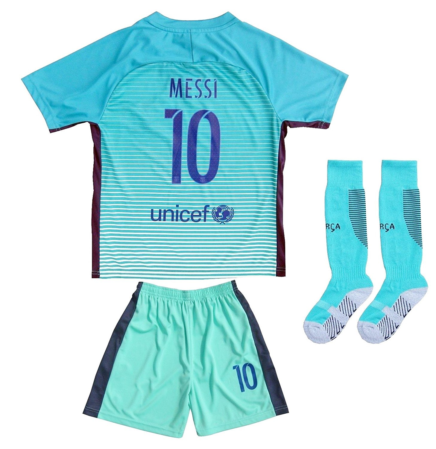 c03be9bdd27 Get Quotations · Da Games Youth Sportswear Barcelona Messi 10 Kids Away Soccer  Jersey Shorts Football Socks Set