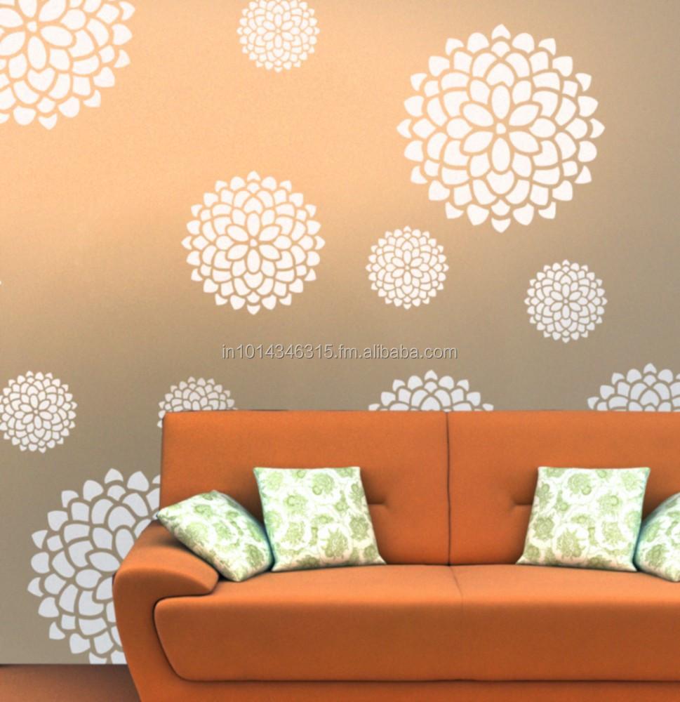fiore muro stencil per la pittura a muro-Carte da parati ...