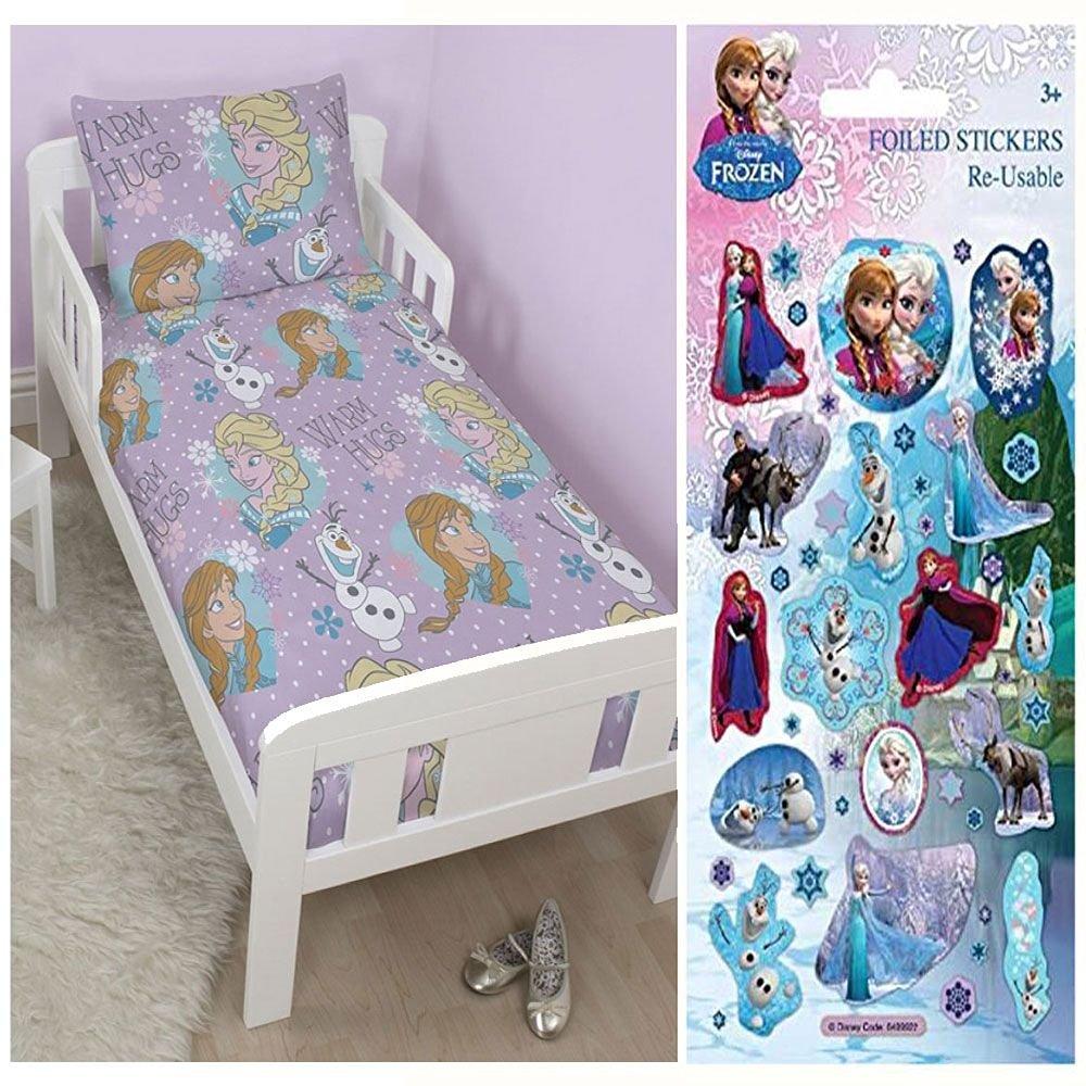 Disney Frozen Junior/Toddler Rotary Duvet Cover + Disney Frozen Small Foil Stickers