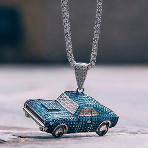 Men's New Special blue Car design pendant necklace Zircon customer design Brass Car pendant necklace