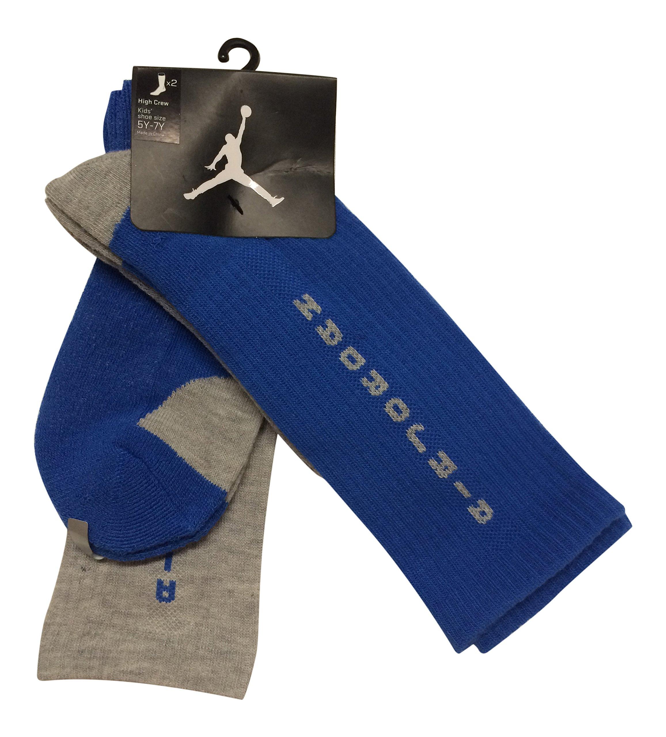 Nike 2 Pairs/Pack Kids High Crew Socks, Blue/Grey, 5Y-7Y