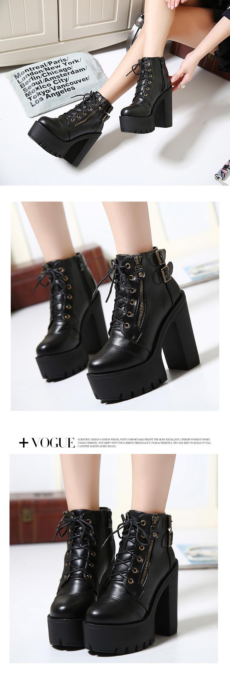 chunky high heels winter autumn motorcycle boots women