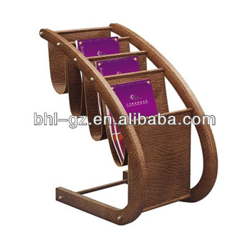 High Quality Multicolor Leather Floor Stand Brochure Display Rack Floor  Magazine Rack For Hotel And Office